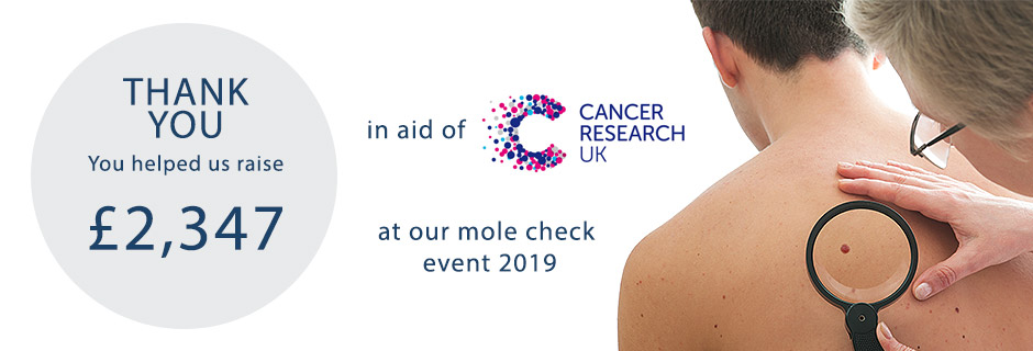 173 mole checks were carried out in total raising a fantastic £2347 for Cancer Research UK